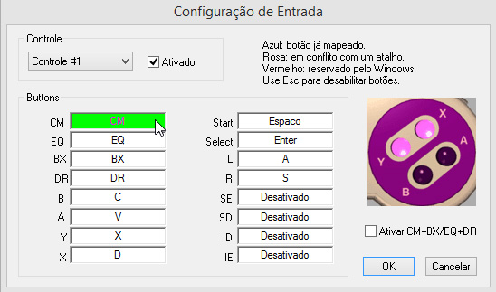 snes9xbr configuracao de entrada
