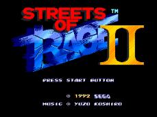 Tela título de Streets of Rage 2 EUR