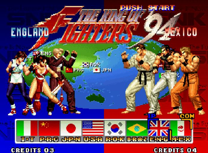 tela de seleção de personagens em The King of Fighter 94