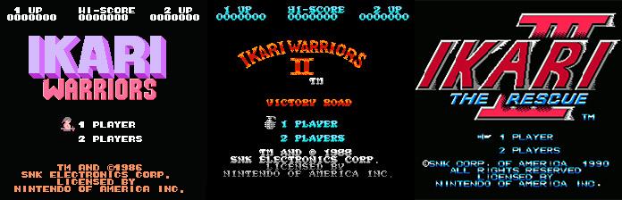 telas de título da série Ikari para NES