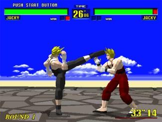 Luta Jacky contra Jacky em Virtua Fighter 1 no arcade