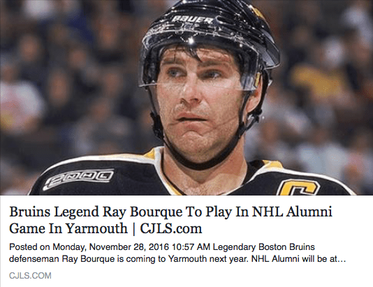 Bruins Legend Ray Bourque To Play In NHL Alumni Game In Yarmouth