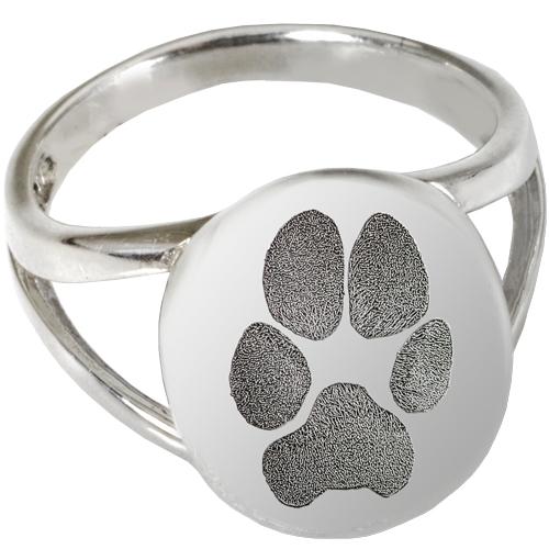 "Sterling Silver Elegant Oval ""V"" Ring Paw Print Pet"