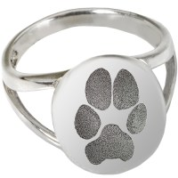 "Sterling Silver Elegant Oval ""V"" Ring Paw Print Pet"