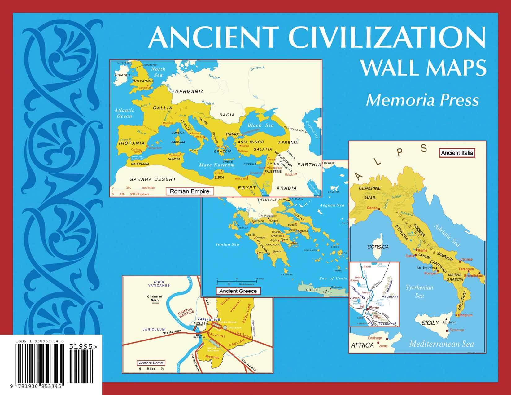 Ancient Civilization Small Wall Maps 11 X17