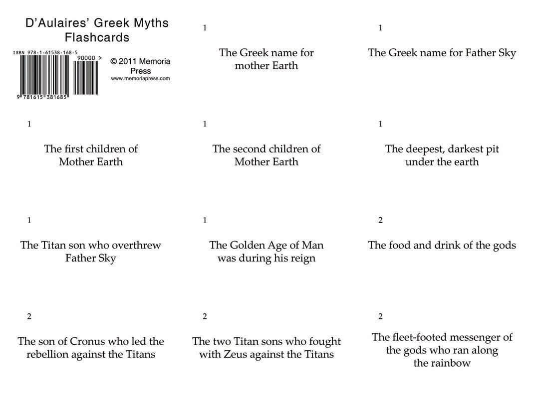 D Aulaires Greek Myths Flashcards