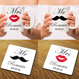 Mr Mrs Wedding Mug Costers Mockup - Mr & Mrs Wedding Set