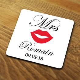 Mrs Coaster Mockup For Website - Mr & Mrs Wedding Set