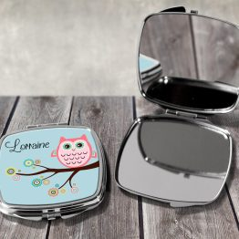 Owl Name Square Mirror - Personalised Name Cute Owl Compact Mirror