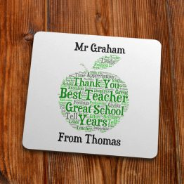 TC115 Best Teacher Word Cloud Coaster 90mm 1 - Personalised Best Teacher Thank You Gift