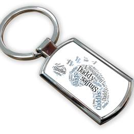 Daddy Metal Rectangle Keyring - Daddy Foot Print Metal Keyring