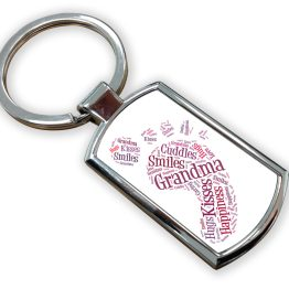 Grandma Metal Rectangle Keyring - Grandma Foot Print Metal Keyring
