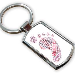 Mummy Metal Rectangle Keyring - Foot Print Metal Keyring