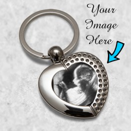 Baby Scan Heart keyrings Mockup - Personalised Baby Scan Heart Metal Keyring Key