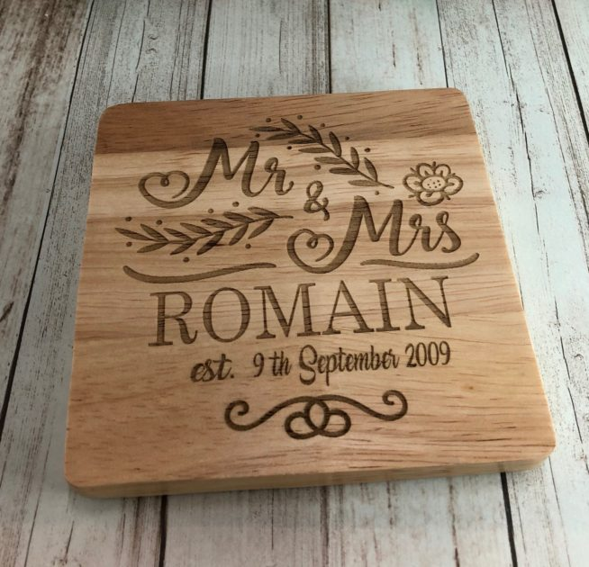 Personalised Mr & Mrs Surname / Date, Coaster engraved anniversary Wedding Gift