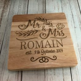 IMG 1090 e1536227022656 - Personalised Mr & Mrs Surname / Date, Coaster engraved anniversary Wedding Gift