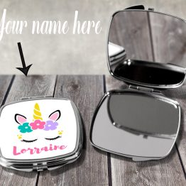 Unicorn Name Compact Mirror PUCM101 Printing Template - Personalised Unicorn Magical Compact Mirror