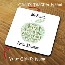 TC118 Best Teaching Assistant Word Cloud Coaster - Personalised Best Teaching Assistant Word Cloud Coaster