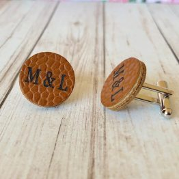 IMG 1028 - Personalised Engraved Genuine Tan Grain Leather Cufflinks 3rd Anniversary Gift