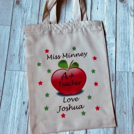 TB113 A Teacher - Personalised A+ Teacher Natural Soft Tote bag