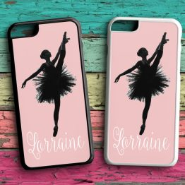 Ballerina Name BN101 iPhone 7 Black White Case - Personalised Name Dancing Ballerina Phone Case