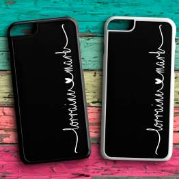 Heart Names N103 iPhone 7 Black White Case - Personalised Couple Name Love Phone Case