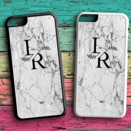 Marble Initials Flower Letter MFL209 Back plastic Black White Case - Personalised Marble Floral Initials Phone Case