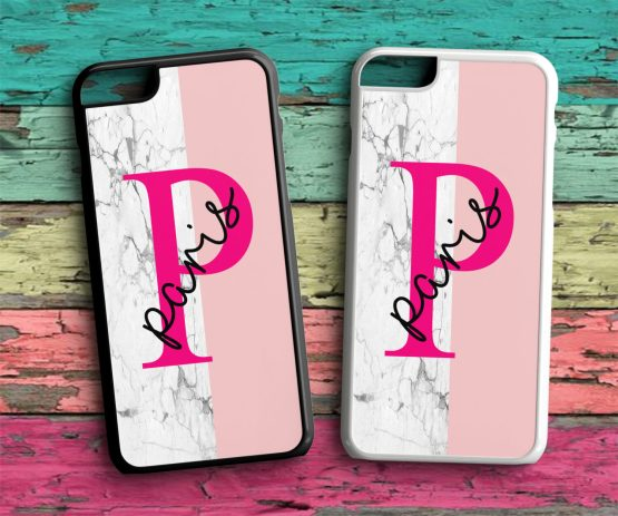 Initials Name IN128 iPhone 7 Black White Case - Personalised Initial - Name Wedding Hard Phone Case