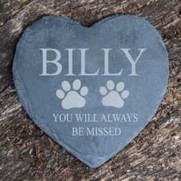 Heart Coaster Pet Name You will always be missed e1539098893459 - Personalised Pet Memorial Slate Heart Coaster