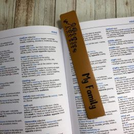 IMG 1299 e1540545371614 - Personalised My Family Bookmark Beige Leather Genuine Gift