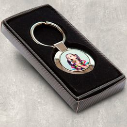 round keyring wbox - Personalised Baby Scan Photo Round Metal Keyring