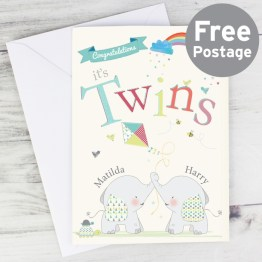 GC00541 Personalised Hessian Elephant Twins Card - Personalised Hessian Elephant Twins Card