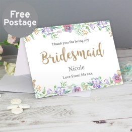 GC00588 - Personalised Bridesmaid 'Floral Watercolour Wedding' Card