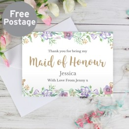 GC00589 - Personalised Maid of Honour 'Floral Watercolour Wedding' Card