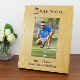 P0111A01 1 - Personalised Oak Finish 4x6 Golf Photo Frame