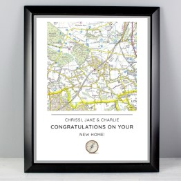 P0512AA09 2 - Personalised Present Day Map Compass Black Framed Poster Print