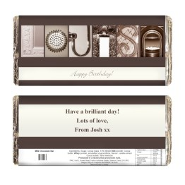 P0515W50 1 Personalised Any Message Affection Art Milk Chocolate Bar - Personalised Any Message Affection Art Milk Chocolate Bar