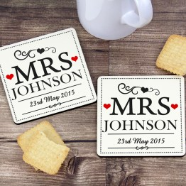 P081116 - Personalised Mrs & Mrs Coaster Set
