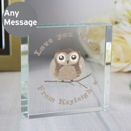 Personalised Woodland Owl Large Crystal Token - Personalised Woodland Owl Large Crystal Token