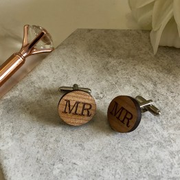 Cherry wood Cufflinks 19mm - Personalised Cufflinks Engraved Cherry Wood Gift