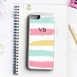 Cute Pastel Initials Small Heart INH102 Iphone 7 white - Personalised Initials Strips Phone Case
