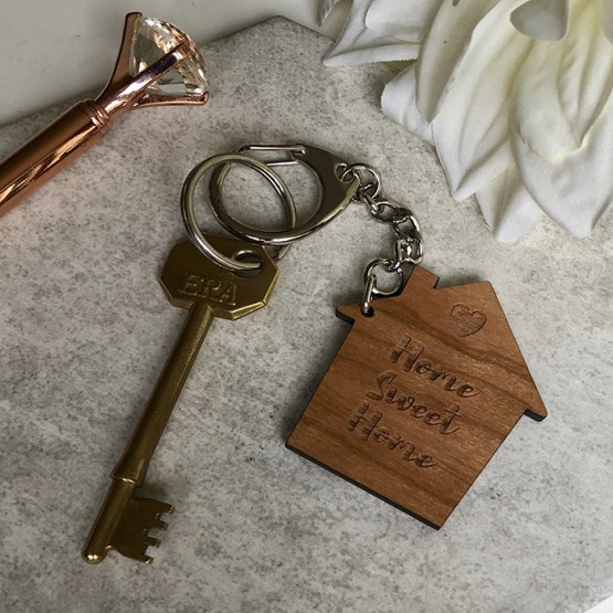 Home Sweet Home Wooden Keyring - Home Sweet Home Wooden Keyring