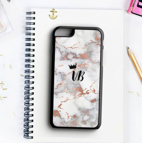 Marble Gold Crown Initials MCN105 Iphone 7 black - Personalised Initials Marble Wedding Phone Case