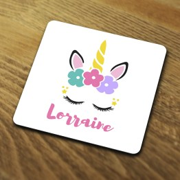 Personalised Unicorn PU101 Coaster Mockup For Website - Personalised Unicorn Magical Drinks Coaster Gift