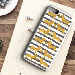 Website SDG201 Sausage Dog GOLD Iphone 7 white - Dachshund Sausage Dog Beautiful Gold Effect Foil Phone Case