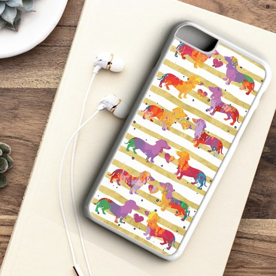 Website SDWC202 Sausage Dog Water Colour Black White Grid Iphone 7 white - Dachshund Sausage Dog Beautiful Water Colour Phone Case