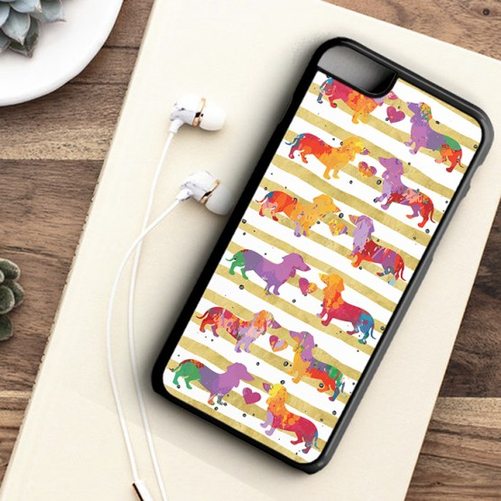 Website SDWC202 Sausage Dog Water Colour Iphone 7 black - Dachshund Sausage Dog Beautiful Water Colour Phone Case