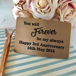 You will Forever be my always - Personalised Forever Leather Wallet Insert Card