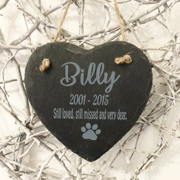 website Memorial Plaque For Pet Dog Heart Hanging - Personalised Engraved Hanging Heart Slate Pet Memorial Plaque
