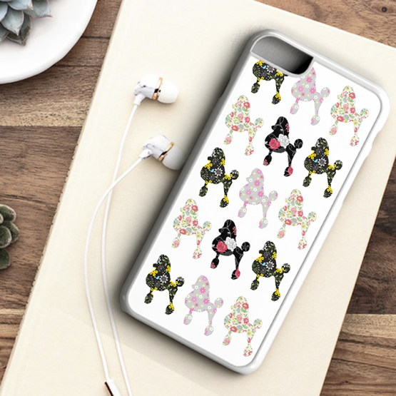 website P101 Poodle Dog Flowers Pattern Iphone 7 white - Poodle Dog Beautiful Flower Pattern Phone Case